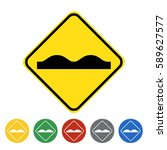 Uneven Road Surface Icon Set...