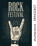 rock and roll sign. hand with... | Shutterstock .eps vector #589632827