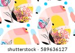 Stock vector hand made vector abstract textured trendy creative universal collage seamless pattern with floral 589636127