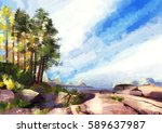illustration of panoramic... | Shutterstock . vector #589637987