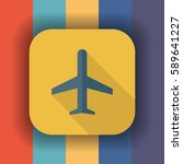airplane flat icon with long... | Shutterstock .eps vector #589641227