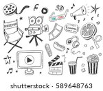 hand drawn cinema doodle icons... | Shutterstock .eps vector #589648763