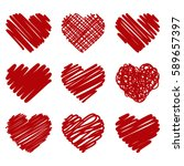 collection of red vector... | Shutterstock .eps vector #589657397