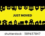 greeting card of moving. | Shutterstock .eps vector #589657847