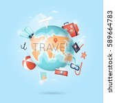 world travel. planning summer... | Shutterstock .eps vector #589664783