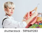 close up of stylist in... | Shutterstock . vector #589669283