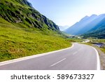 curve at the european alps | Shutterstock . vector #589673327