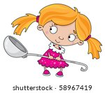 illustration of a girl with a... | Shutterstock .eps vector #58967419