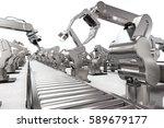 3d rendering robotic arm with... | Shutterstock . vector #589679177