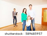family of three with their real ... | Shutterstock . vector #589685957