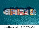 container container ship in... | Shutterstock . vector #589692563