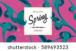 spring sale offer with text and ... | Shutterstock .eps vector #589693523