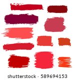 red vector brush strokes of... | Shutterstock .eps vector #589694153