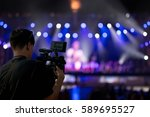 covering an event on stage with ... | Shutterstock . vector #589695527