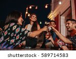 group of young friends hanging... | Shutterstock . vector #589714583