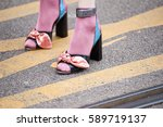 milan  february 23  2017  woman ...   Shutterstock . vector #589719137