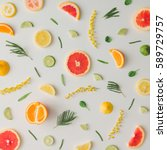 colorful food pattern made of... | Shutterstock . vector #589729757