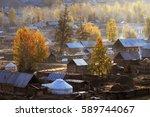 hemu village in kanas nature... | Shutterstock . vector #589744067