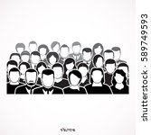 crowd of anonymous people ... | Shutterstock .eps vector #589749593