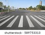 china's urban road zebra... | Shutterstock . vector #589753313