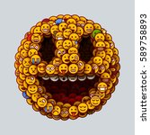 smiley face made of many small... | Shutterstock .eps vector #589758893