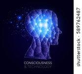 shining network human head.... | Shutterstock .eps vector #589762487