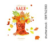 autumn greeting card with... | Shutterstock .eps vector #589762583