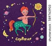 sagittarius zodiac sign on... | Shutterstock .eps vector #589763903