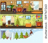 vector set of banners with home ... | Shutterstock .eps vector #589767263