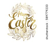 easter golden hand drawn design ... | Shutterstock .eps vector #589779233