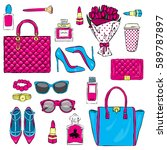 set of stylish women's... | Shutterstock .eps vector #589787897
