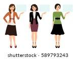 cartoon teacher woman showing... | Shutterstock .eps vector #589793243