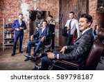 group of young elegant positive ... | Shutterstock . vector #589798187