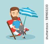 caucasian hipster business man... | Shutterstock .eps vector #589803233