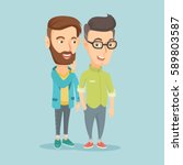 young caucasian hipster man... | Shutterstock .eps vector #589803587