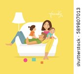 happy family on sofa. flat... | Shutterstock .eps vector #589807013