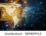 double exposure global world... | Shutterstock . vector #589809413