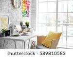 modern interior of designer...   Shutterstock . vector #589810583