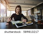 skilled kazakh young female... | Shutterstock . vector #589813217