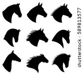 Stock vector horse head vector silhouettes black silhouette head horse illustration of head wild stallion 589813577