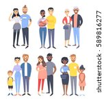 set of different couples and... | Shutterstock .eps vector #589816277