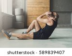 young man workout in fitness... | Shutterstock . vector #589839407