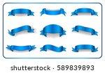 blue ribbons set. satin blank... | Shutterstock .eps vector #589839893