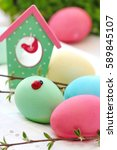 colored eggs for easter sunday.   Shutterstock . vector #589845107
