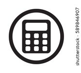 flat black calculator web icon... | Shutterstock . vector #589846907