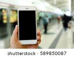 hand holding smartphone with... | Shutterstock . vector #589850087