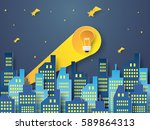 idea concept   bulb signal from ... | Shutterstock .eps vector #589864313