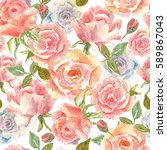 floral seamless pattern with... | Shutterstock . vector #589867043