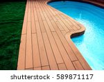 backyard with swimming pool and ... | Shutterstock . vector #589871117