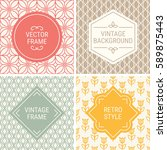 set of vintage frames in red ... | Shutterstock .eps vector #589875443